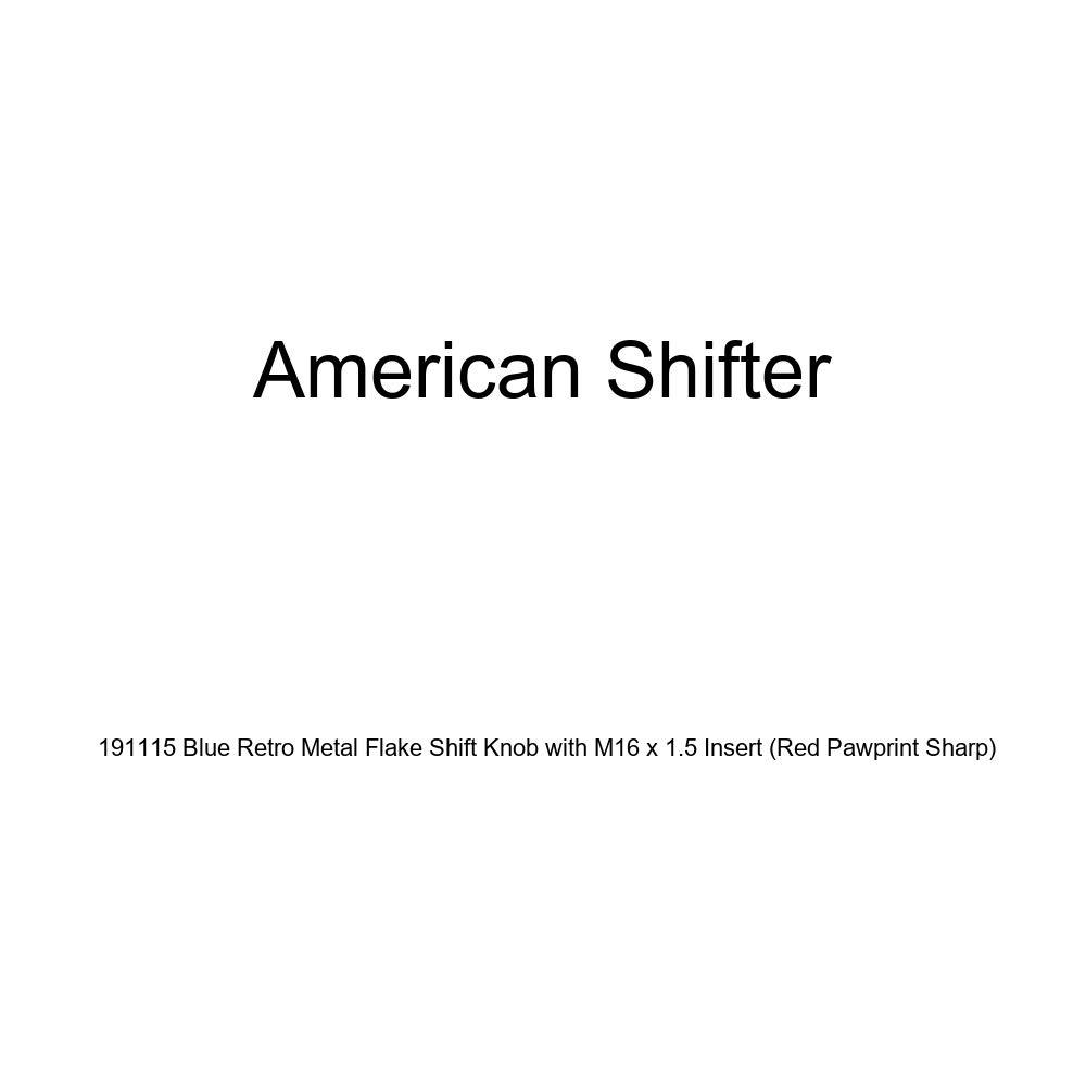 Red Pawprint Sharp American Shifter 191115 Blue Retro Metal Flake Shift Knob with M16 x 1.5 Insert