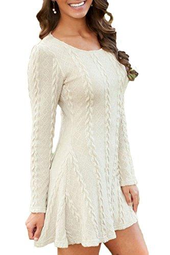 Sleeve Mulisky Crewneck Sweater Women's A Mini Line Casual Dress White Long Knitted rtqwrxa45A