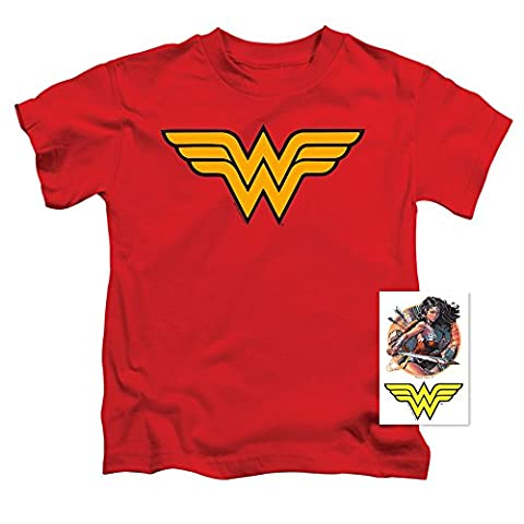 Juvenile Wonder Woman Logo T Shirt & Exclusive Stickers (4T) (Movie Cool Dry Place)
