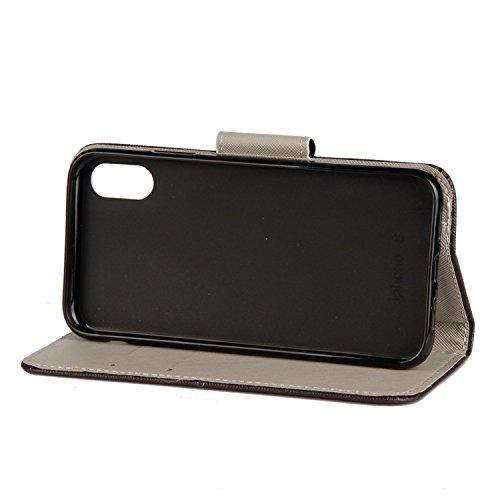 iPhone X Hülle Bunter Schmetterling PU Leder Wallet Handytasche Flip Etui Schutz Tasche mit Integrierten Card Kartensteckplätzen und Ständer Funktion Für Apple iPhone X / iPhone 10 (2017) 5.8 Zoll + Z