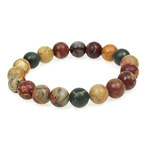 Picasso Bead Bracelet - MJDCB Featured Men Women 10mm Red Picasso Beads Bracelet Elastic Natural Stone Yoga Bracelet Bangle