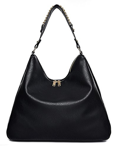 Covelin Women's Soft Leather Handbag Hobo Purse Large Capacity Tote Shoulder Bag Black (Leather Tote Retro)