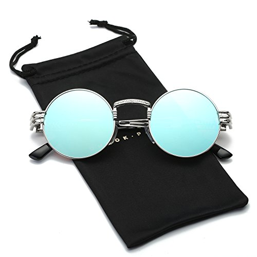 Dumok Round Metal Steampunk Vintage Circle Sunglasses With Silver Frame/Blue - Blue Lenses Circle