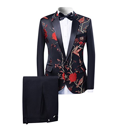 Cloudstyle Mens 2-Piece Suits One Button Floral Blazer Dinner Jacket and Pants by Cloudstyle