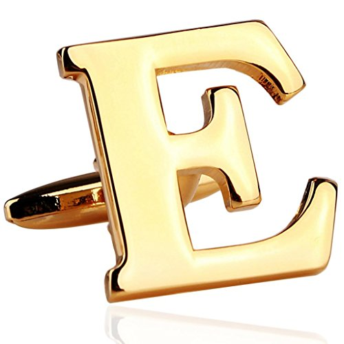 MoAndy Gold Plated Mens Wedding Shirts Initial Cufflinks (Alphabet Letter E) ,Color Gold,2Pcs