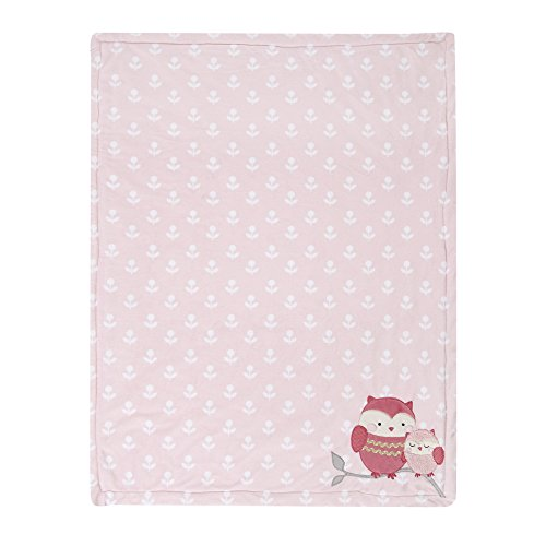 Happi by Dena Woodland Couture Owls Blanket, Pink/White