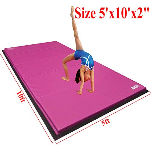 "Gymmatsdirect 5'x10'x2"" Super Large Gymnastics Exercise Tumbling Mat, 5 Panels Folding Gym mats, Pink"