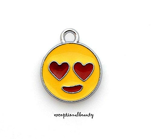 (2 Pcs Heart Eyes Yellow Red Enamel Silver 18mm Flat Round Bead Drop Charms)