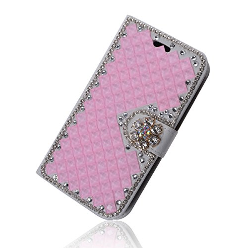 Huawei Ascend G7 Funda, Huawei G7 Funda, Lifeturt [ cyan diamante ] Cubierta de la caja de cuero superior de la carpeta del libro para Huawei Ascend G7 E02-38-rosado Diamond