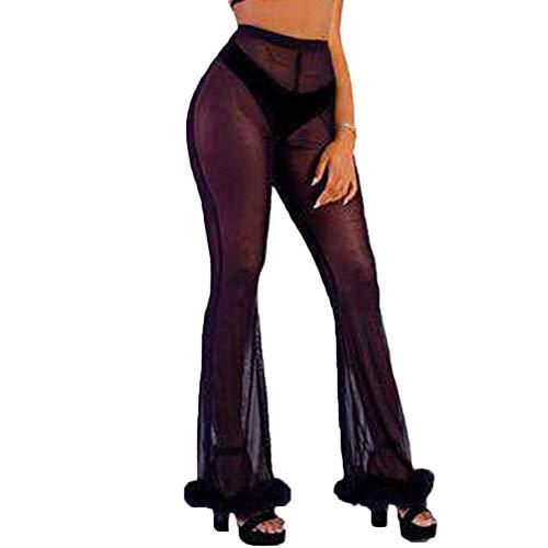 RUEWEY Women See Throug Mesh Flare Cover up Pants Swimsuit Bikini Bottom Cover up Elastic Waist Wide Leg Palazzo Trousers (S, Black Fur)
