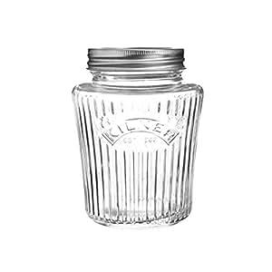 Kilner Airtight Vintage Food Preserve Jar, Clear Glass with Vacuum Seal, 500ml - AC2398