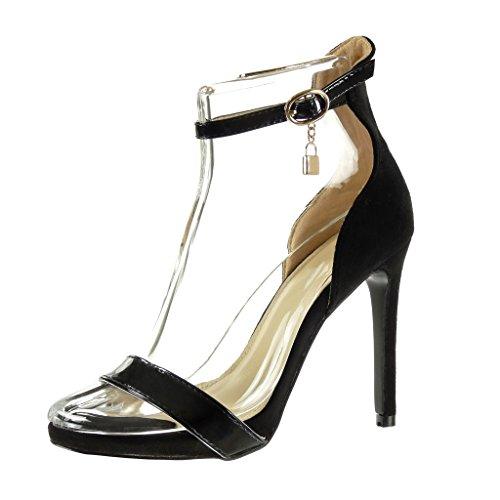 Mode Chaussure femme Noir aiguille Sandale CM lanière 11 Escarpin Talon sexy stiletto haut Angkorly boucle brillant cheville 1qd581