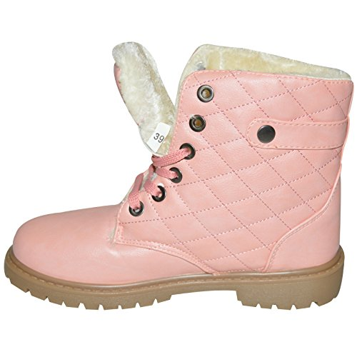 Xelay Womens Fur Lined Winter Warm Ankle Trainer Boots Shoes Size UK 3-8 Pink Hi Top- Tjq0UlMMQ