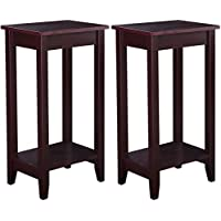 Giantex Tall End Table Coffee Stand Night Side Nightstand Accent Furniture Brown (2)