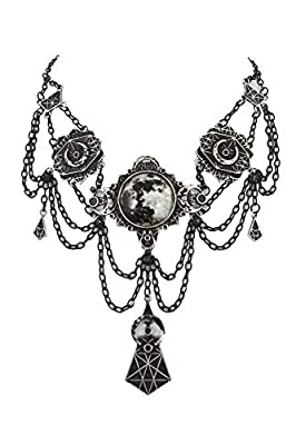 Gothic Victorian Crescent Moon Jewelry Necklace