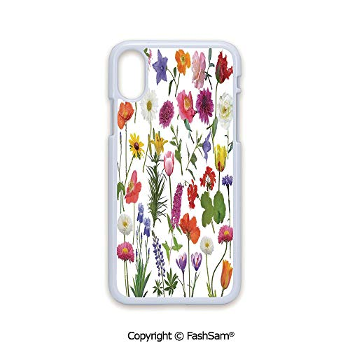 (Phone Case Compatible with iPhone X Black Edge Types of Flowers Colored Roses Tulips Daisies Hydrangeas Lilacs Artwork Print 2D Print Hard Plastic Phone Case )