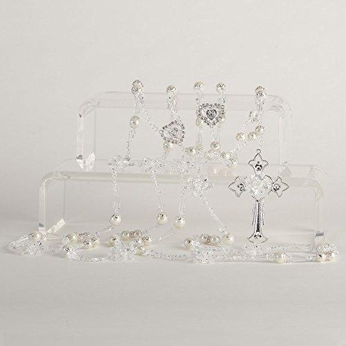 Texas Crystal Rose Wedding Lazo LAJC 625S - Lazo de Bodas -Handmade Lasso - Lasso de Bodas Adorned with Swarovski crystals and pearls - Jewelry Box & Ivory Organza Bag (Crystal Rose Crucifix)