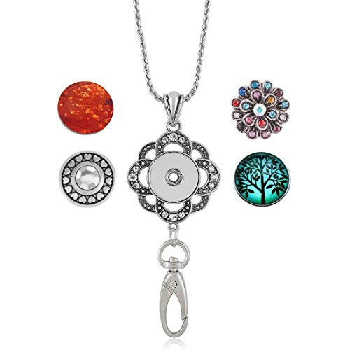 Simply Poppies Premium Women's Lanyard - Jeweled Snap Charm Lanyard for IDs, Badges and Keys - Comes with 4 Snap Charms