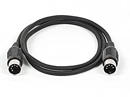Monoprice MIDI Cable with 5 Pin DIN Plugs, 3-Feet, Black (108532)