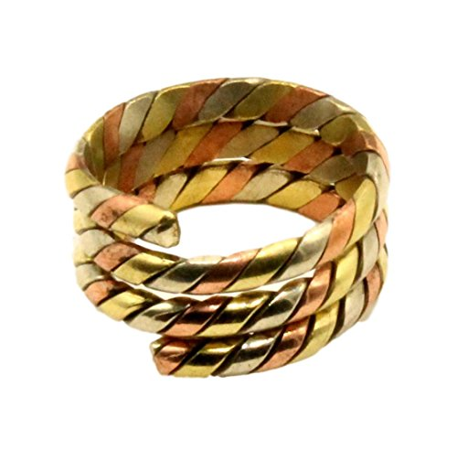 (Tibetan Three Metal Spiral Healing Medicine Ring. Unisex, Helps Relieve Arthiritis and Tendon Pains)