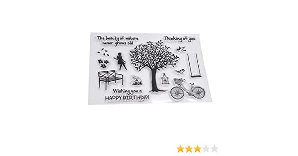 Clear, 6.4x4.4 Inches Mikilon Tree Bicycle Girl Bird Happy Birthday Clear Stamps for Card Making Decoration and DIY Scrapbooking