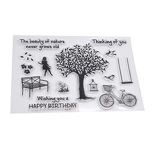 Mikilon Tree Bicycle Girl Bird Happy Birthday Clear Stamps for Card Making Decoration and DIY Scrapbooking (Clear, 6.4x4.4 Inches) (Ivy Umbrella)