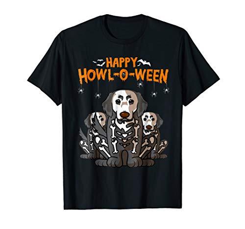 Happy Halloween Golden Retriever Skeleton Dog Costume Tee ()