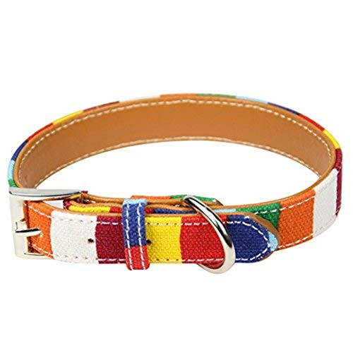 Wowangwang Adjustable Pet Anti-Mosquito Collar Lead Belt Rainbow Collar Collar Pu Leather Rainbow Buckle Dog Cat Anti-Mosquito - Leather Rainbow Collar