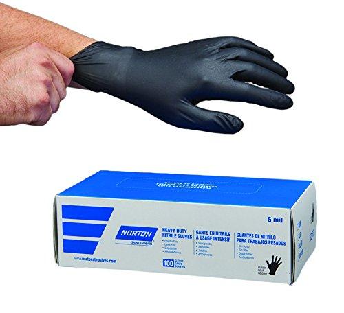 Norton 66623390705 Nitrile Gloves, 6 mil, Large, Black (Pack of 100)