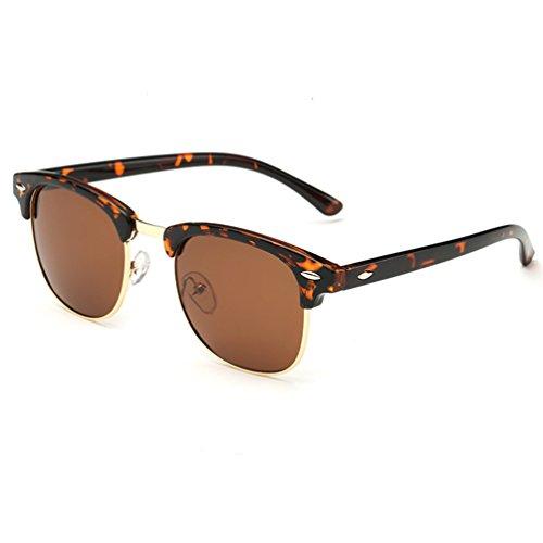Armear Retro Clubmaster Semi Rimless Polarized Sunglasses UV Protection Glasses Leopard