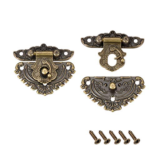 Uxcell a15060800ux0260 81mmx74.5 mm Vintage Style Box Suitcase Lock Hook Latch Bronze Tone