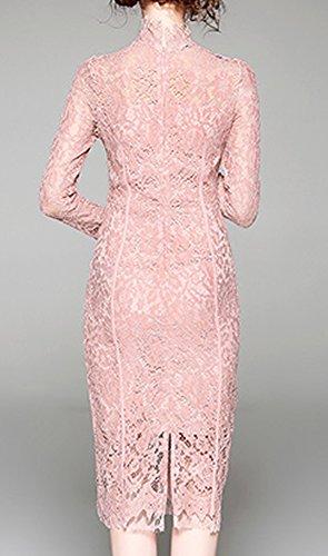 Dissa Yl51618 Femmes Manches Longues Solide Dentelle Midi Robe Soirée Cocktail Creux Rose