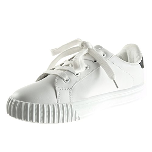 Angkorly - Scarpe da Moda Sneaker Tennis zeppe donna stella Tacco zeppa piattaforma 2.5 CM - Nero