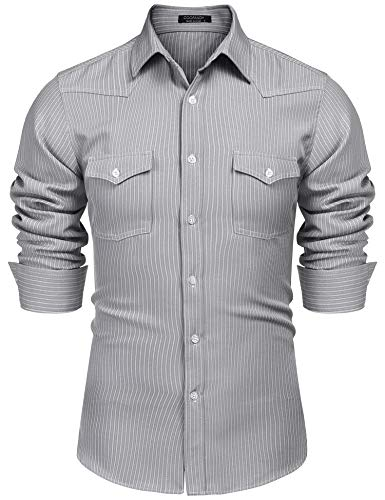 COOFANDY Men's Wrinkle-Free Dress Shirt Casual Striped Long Sleeve Western Style Shirt,Gray,Small