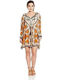 2da6983067b Women s Juniors Plus-Size Spice Printed Bell-Sleeve Dress