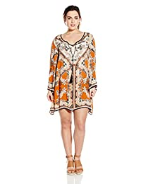 Angie Junior's Plus-Size Spice Printed Bell Sleeve Dress