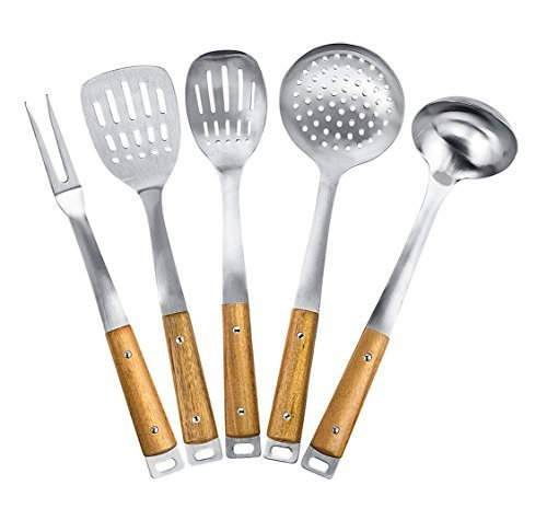 Kitchen Maestro, Stainless Steel Utensil Set with Acacia Wood Grips (5)