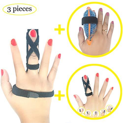 BodyMoves New Finger Splint Plus Extension Splint Exclusive Design Plus Hot & Cold Finger Gel Pack for Trigger Mallet Broken Finger Post Operative Tenosynovitis(Coal Black)