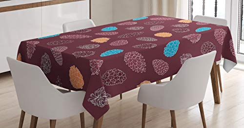Ambesonne Pine Cone Tablecloth, Coniferous Tree Cones Christmas Season Retro Woodland Creative, Dining Room Kitchen Rectangular Table Cover, 60 W X 84 L Inches, Dried Rose Maroon Pale Orange