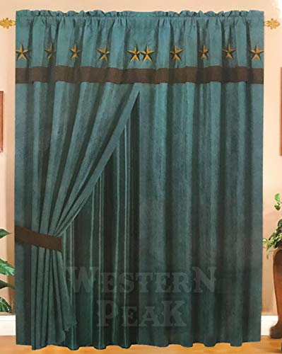 - Rustic Luxury Western Star Design Embroidery Curtain Lining with Tassels (Turquoise Brown)
