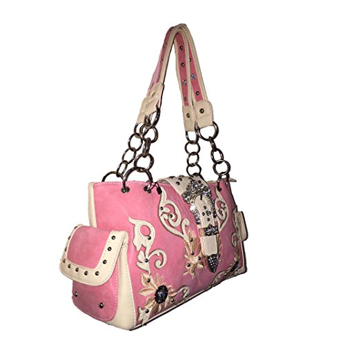 Matching and New Bag Pink CC Handbag Concealed Carry 2015 Pink Leather Rhinestone Messenger Concho Style Buckle Embroidered Purse Shoulder Wallet Handbag in Ogq7w