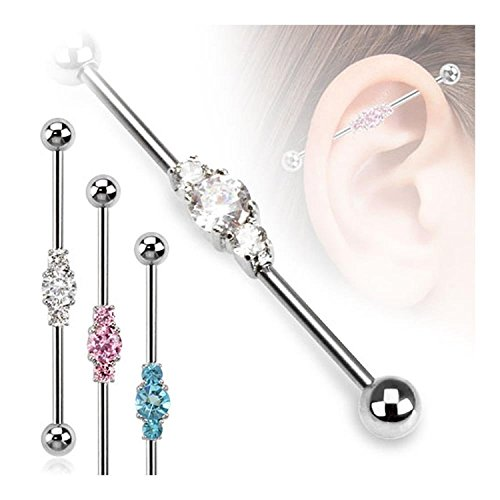 16G, 14G Three Linked CZs 316L Surgical Steel Industrial Barbell - Sold Individually (14G Pink)