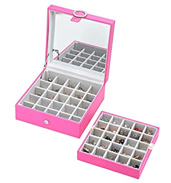 JackCubeDesign Leather 45 Slots Earring Organiser Storage Box Display with Mirror Inside Velvet Section Compartments Divider Jewellery Tray Case Holder(Pink, 21.6 x 21.6 x 16 cm) – :MK355C
