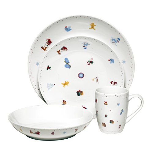 Melange Chisrtmas Party Ceramic 16-Piece Place Setting, Serv