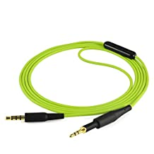 AKG K430 K450 K451 K452 Q460 K480, JBL J55 J55a J55i J88 J88a J88i Headphone Replacement Cable / Audio Cord With Mic and Volume Control, Works With Apple, Android, Windows Phone (Green 4ft)