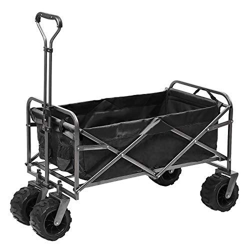 - Outdoor Innovations Heavy Duty Collapsible All Terrain Folding Beach Wagon Utility Cart (Black)