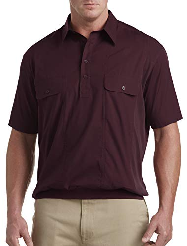 (Harbor Bay by DXL Big and Tall Short-Sleeve Mesh Panel Banded-Bottom Shirt (1XL, Fig) )