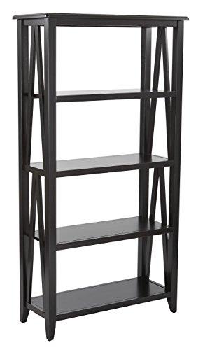 Office Star Santa Cruz Solid Wood and Veneer 5 Shelf Book Case, Black (Office Cruz Furniture Santa)