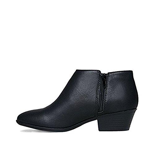 Soda Frauen Western Inside Zipper Gestapelte Heel Ankle Booties Schwarzes Kunstleder *
