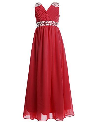 FAIRY COUPLE Girl's Embellished V-Neck Long Flower Girl Dress for Wedding K0156 8 -